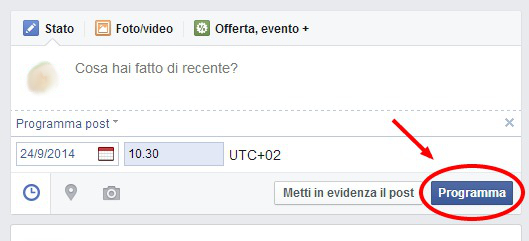 come programmare post pagina facebook 5